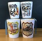 Shot Glasses 15 oz Set of 4 Historic Route 66 with Pin up Girls Gloss White