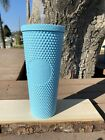 Custom Painted  Aqua Blue Starbucks Studded Tumbler