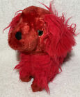 Vintage 10 Red Shaggy Dog Plush 1950s 1960s Green Glass Eyes Floppy Ears