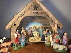 Vintage Nativity ITALY Creche Manager Figures 12 piece lot 60s set Jesus Angel