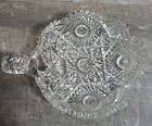 Crystal Glass Nappy Dish Saw Tooth Rim Candy Dish Bowl Intricate Star Pattern