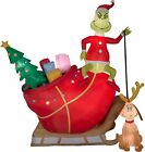 12 Gemmy Airblown Inflatable Colossal Grinch In Sleigh w Max Yard Decoration