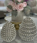 Easter Spring Egg Shape Faux Pearl Crystals set Of 2
