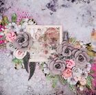 Handmade Mixed Media CAPTURED Roses  Wings 12x12 Premade Scrapbook Page Layout