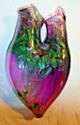 Terry Weaver Studio Art Glass Wall Pocket Vase Amethyst Green Dichroic Handmade