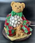 Stained Glass Vintage Christmas Teddy Bear Accent Lamp Night Light Red And Green