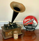 ANTIQUE EDISON STANDARD PHONOGRAPH WORKS ONE EDISON RECORD and VICTOR METAL SIGN