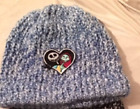 Handmade Varigated Blue/White Beanie with Jack Skellington and Sally in Heart