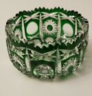 Vintage Emerald Green Cut to Clear Bohemian Glass Bowl Candy Dish