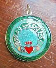 Celtic Claddagh w Enameling Pewter Medieval Irish Lovers Pendant Jewelry