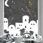 Christmas Nativity Village Window Decal White static cling reusable not sticke