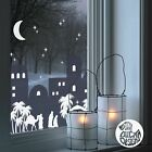 Christmas Nativity Village Window Decal Blue static cling reusable not sticker