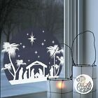 Christmas Nativity Circle Window Decal Blue static cling reusable not sticker