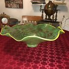 LARGE Garden City Glass Bowl Hand Blown Skagway Alaska Signed Green Clear Swirl