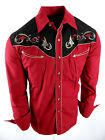 Rodeo Brand Western Shirt Mens Burgundy Black Floral Embroidery Pockets Snap Up