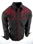 Rodeo Brand Western Shirt Mens Black Red Floral Embroidery Pockets Snap Up