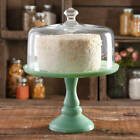 Woman Timeless Beauty 10 inch Mint Green Cake Stand Clear Glass Cover Vintage Tv
