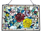 Stained Glass Chloe Lighting Butterfly  Roses Window Panel 27 X 19 Handcrafted