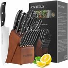 15 Pieces Kitchen Knife Set German Stainless Steel Chef Knives with Wooden Block