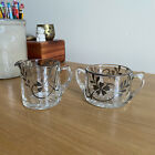Vintage Open Sugar  Creamer Set Glass with Floral Silver Overlay Nouveau Style