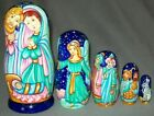 NATIVITY 5 PC HAND PAINTED RUSSIAN MATRYOSHKA NESTING SET 5902