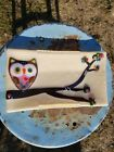 FUSED ART GLASS OWL DISH IRIDESCENT DICHROIC 9x 525