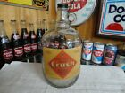ORANGE CRUSH FOUNTAIN SODA SYRUP 1 GAL PAPER LABEL JUG CLEAR GLASS