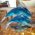 Lot Of 2 Glass Dolphins Blue Turquoise 10 6 Long
