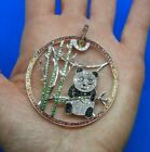 Large 14K White Gold  Multi Colored Glass Stone Panda with Bamboo Pendant