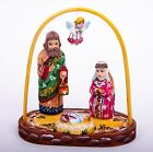 Wooden Nativity scene Christmas ornaments set hand painted carved 6 1 2