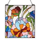 Floral Stained Glass Panel Art Glass Sun Catcher Home Decor Flower Wall Hanging
