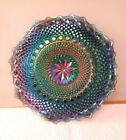 Vintage Highly Iridescent Blue Carnival Glass Ruffled Bowl Plate Dish 105