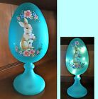 Lighted Frosted Glass Easter Bunny Floral Egg Pedestal Stand 12H