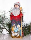 Wooden Hand carved Santa Claus Figurine 13 hand painted Nativity scene
