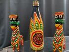 hand painted sculpture and glass vase decorative art piece