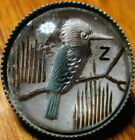 Antique From France HUMMINGBIRD Intaglio Vintage Painted Under Glass Button