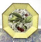 Moonlighting Interiors Decoupage Glass Plate Red Cherries Leaves  Toile 875