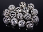 Tibetan Silver Carved Patterned Hollow Connector Round Spacer Beads 10mm 14mm