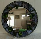 VINTAGE STAINED GLASS MIRROR 14 Vineyard Grapes Wine Sun Catcher