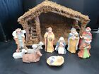 Vintage Nativity Set Ceramic Hand Painted 11 Figurines With Stable In Box Sears