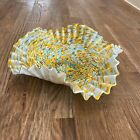 Vintage MCM Murano Art Glass Aqua Blue Gold Swirl Dot Crinkle Bowl Wall Hanging