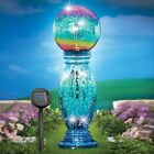Colorful Solar Glass Globe Ball with Column Outdoor Garden Yard Patio Art Decor
