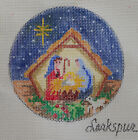 NATIVITY HP NEEDLEPOINT CHRISTMAS ORNAMENT BY LARKSPUR