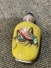 Chinese Antique Hand Painting Grasshopper Glass Snuff Bottle1