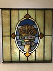 Antique Church Multi colored Stained Glass Window I AM THE BREAD OF LIFE 24x25