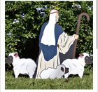 Outdoor Printed Nativity Shepherd with Sheep Figures ons M29