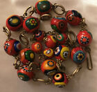 Vintage Venetian Murano Glass Bead Red Orange Necklace 15 19 Long Made In Italy