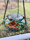 Unique AWESOME Hummingbird Bird Feeder Glass Multi Color 3 Flower bowl LOVE IT