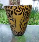 CORREIA signed Amber  Black LEOPARD FACE 8 ART GLASS VASE Limited 85 500