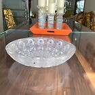 Lalique style numerous signed bowl large size heavy glass with black anamel dots